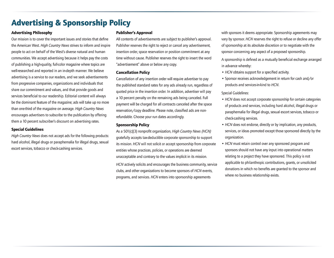 Advertising & Sponsorship Policy