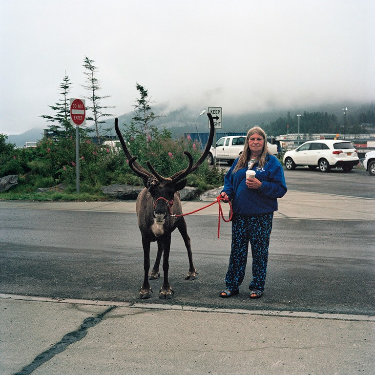 """Whittier magnifies what people are about"" – Brenda Tolman, Whittier resident since 1982, with one of her two pet reindeer."