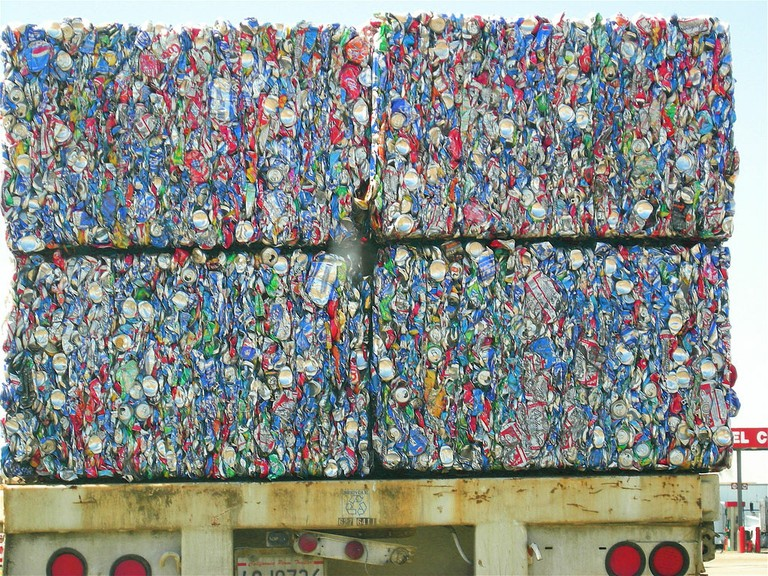 Recycled cans loaded on a California truck.