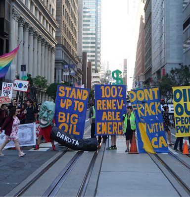 Climate activists take aim at 'Wall Street West'