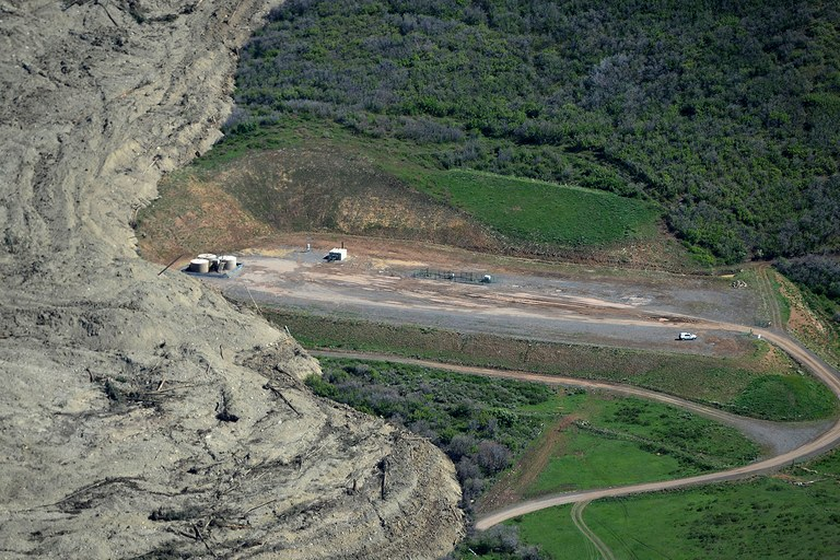 An aerial view of the Mesa County Mudslide from a plane flown by John Stanley. The mudslide, which occurred Sunday evening, is being measured in miles as opposed to merely feet and was photographed on Monday, May 26, 2014.