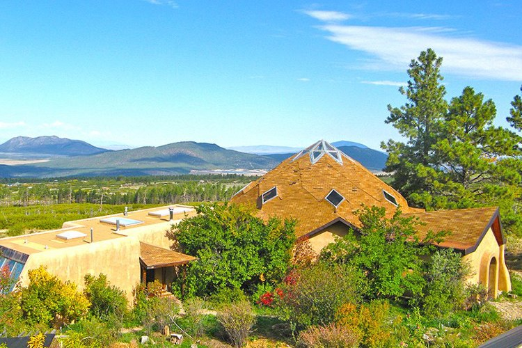 The dome and buildings at Lama, a sustainable community in New Mexico