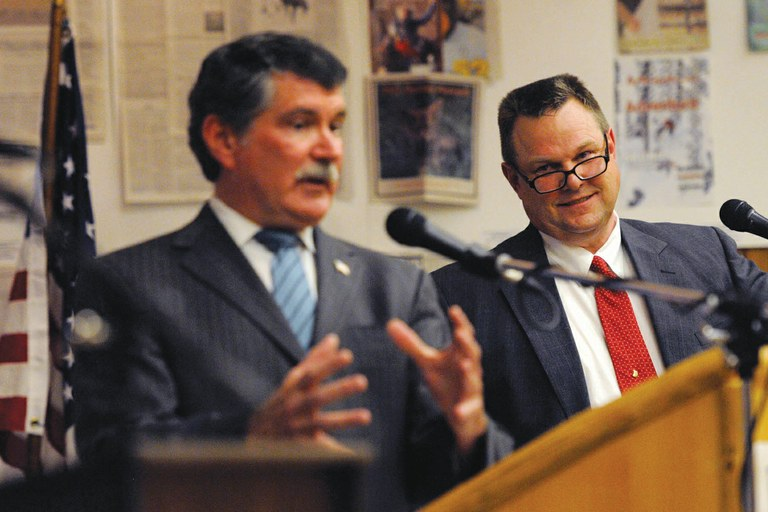 Jon Tester and Denny Rehberg in their June debate, when the two were locked in a tight race for a Montana senate seat.