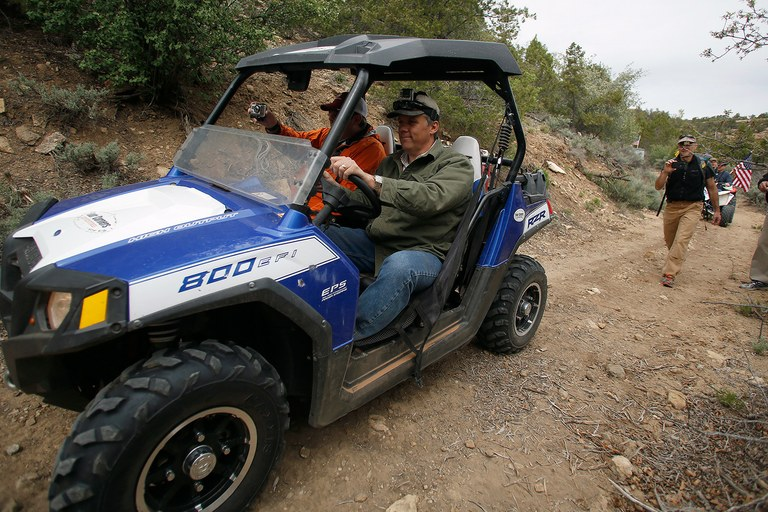 Phil Lyman, a San Juan County commissioner, drives his all-terrain vehicle in Recapture Canyon outside Blanding, Utah, May 10, 2014. Activists seeking to directly challenge federal control of swathes of territory in the U.S. West embark on an all-terrain vehicle ride on Saturday across protected land in Utah that is home to Native American artifacts and where such journeys are banned. The ride into Recapture Canyon, which comes amid heightened political tensions, is aimed to protest against indecision by federal land managers on whether to reopen canyon trails to recreational vehicle use after more than seven years of study.
