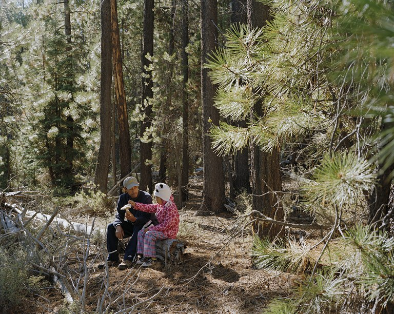 Joy and his daughter Belinda with a Matsutake in the Deschutes National Forest,  Oregon, 2011.
