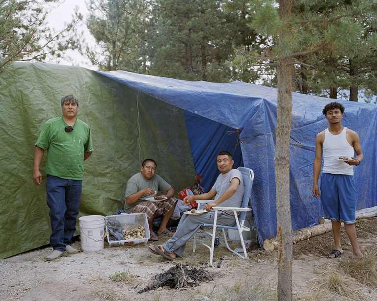 Jesus, Jose, Herbert and David at their mushroom camp near Chemult, Oregon, 2011.