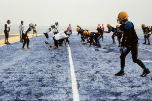 A football team on the edge of the world