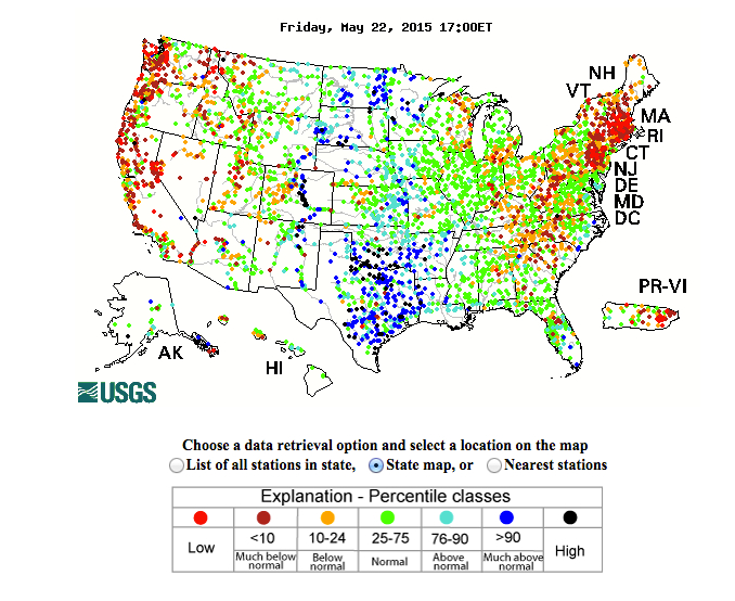 Streamflows in the Western U.S., May 2015