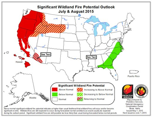 Wildfire risk late summer 2015