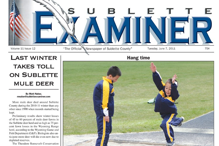 Front page of the Sublette Examiner