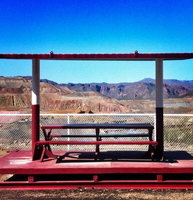 Sightseeing at an open pit mine in Arizona copper country