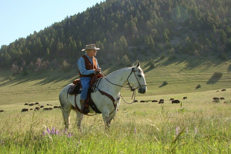 Ted Turner at his Flying D Ranch near Bozeman, Montana.  His bison herd there is 5,000 strong, more even than the buffalo population in nearby Yellowstone National Park.