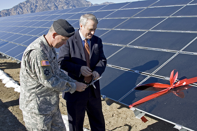 Former Colorado Governor Bill Ritter at Fort Carson solar array.  U.S. Army photo by Michael J. Pach.