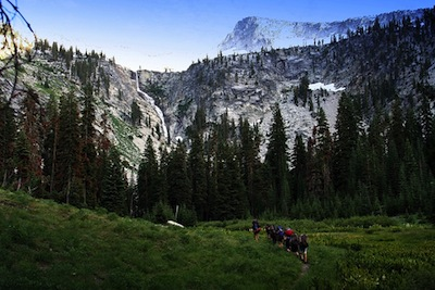 Kids hiking in the Trinity Alps (not from a wilderness therapy program)