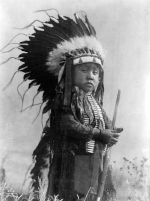 Crow indian with feather headdress