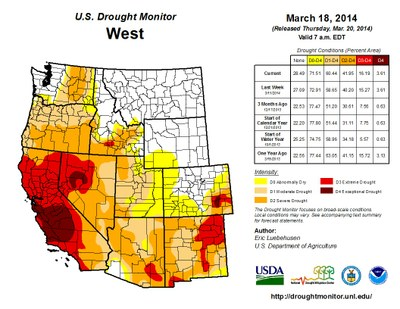 The Multi Year Drought Is Hitting Western States Particularly California Hardest Source U S Drought Monitor