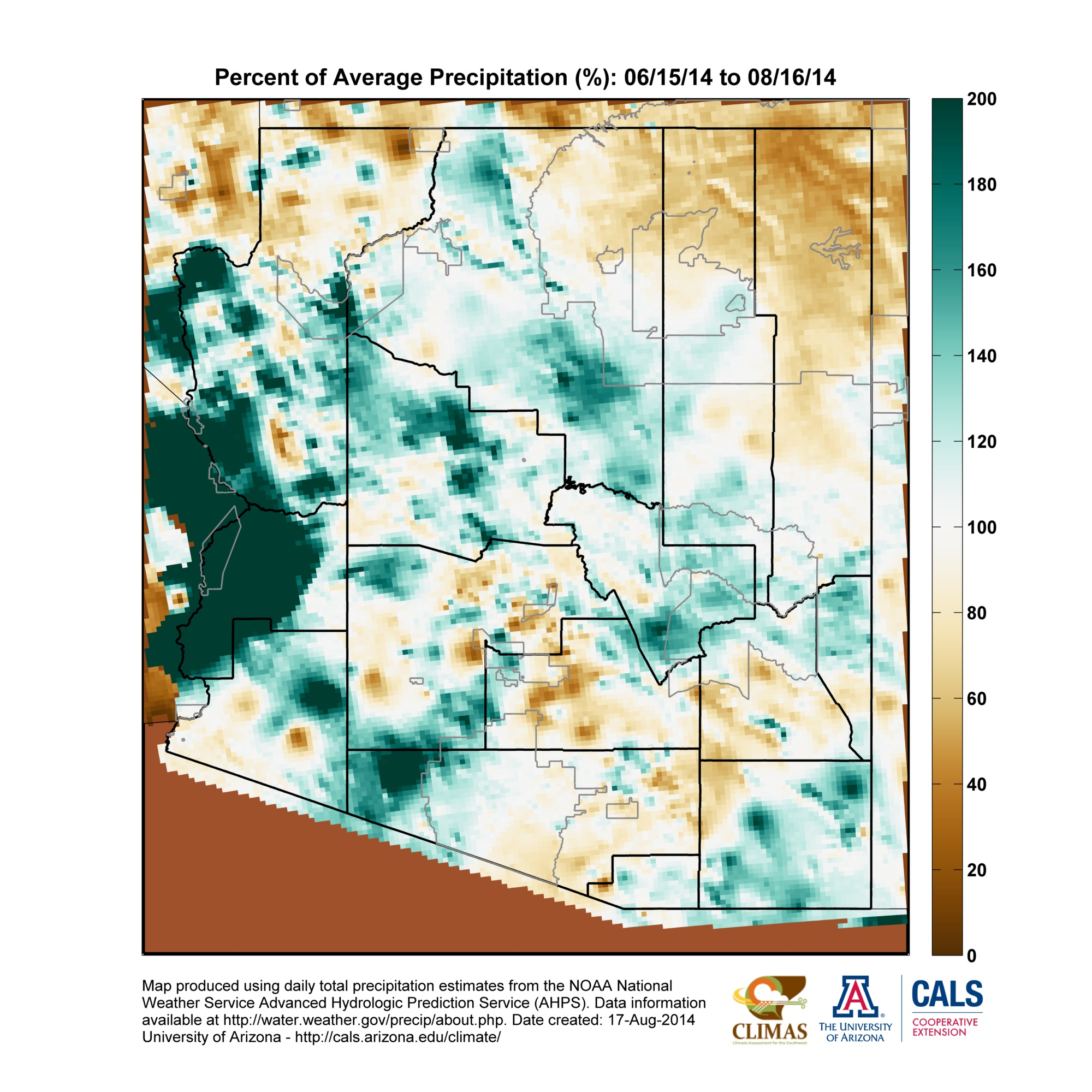 AZ Monsoon Map 2014