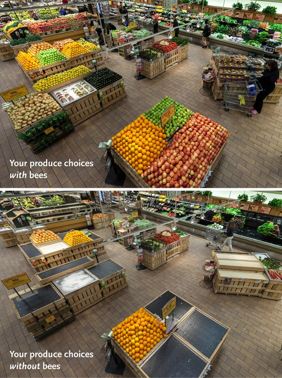 Produce with bees, and without.