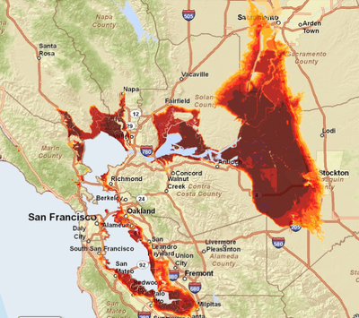 Bay Area sea level rise map