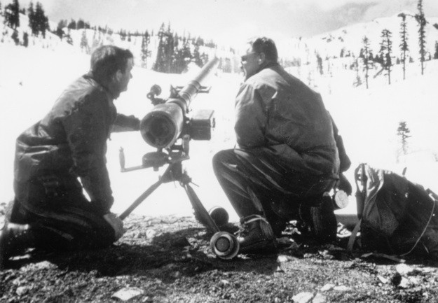 Monty Atwater with gunner using an avalauncher developed by Atwater, Alta, 1958