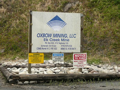 Oxbow mine sign