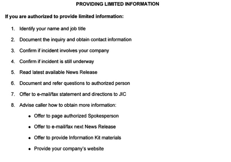 Providing Limited Info