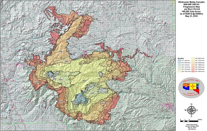 Whitewater Baldy Complex map