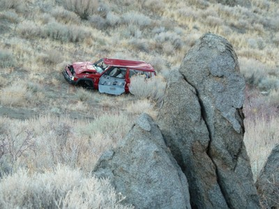 Jeep near rock