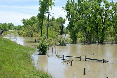 Milk river flooding, Montana
