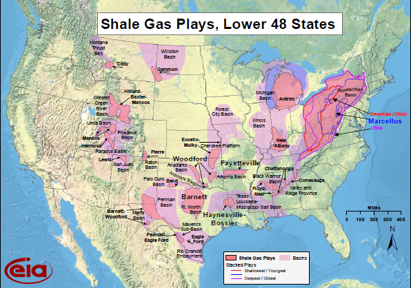 Shale gas plays