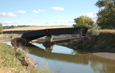 Twisted railroad bridge