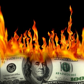 burning money image