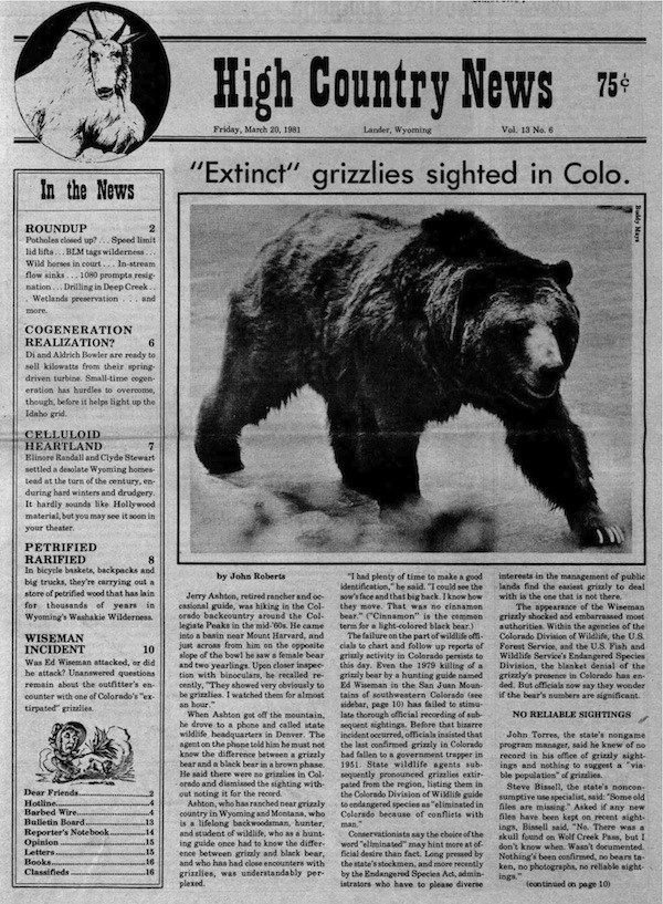 1981: 'Extinct' grizzlies sighted in Colorado