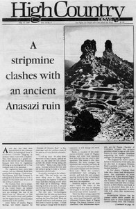 A stripmine clashes with an ancient Anasazi ruin