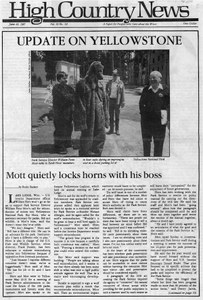 Update on Yellowstone: Mott quietly locks horns with his boss