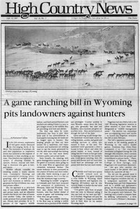 A game ranching bill in Wyoming pits landowners against hunters