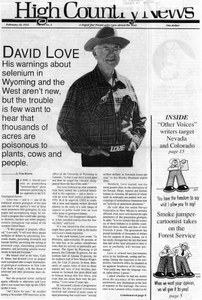 David Love: His warnings about selenium in Wyoming aren't new