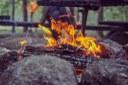 Boodog roasting on an open fire