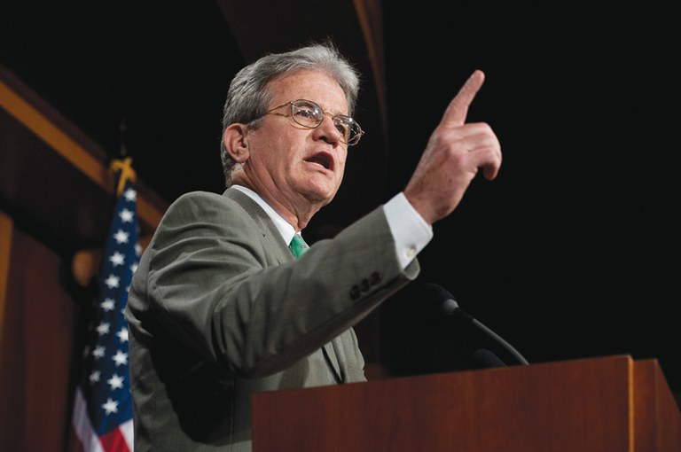 Senator Tom Coburn, R-Okla., at a news conference in August.
