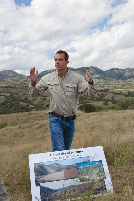 Jeff Cornoyer, a mine geologist, shows a group of journalists and citizens the site for the proposed Rosemont Copper Mine in the Santa Rita Mountains southeast of Tucson.