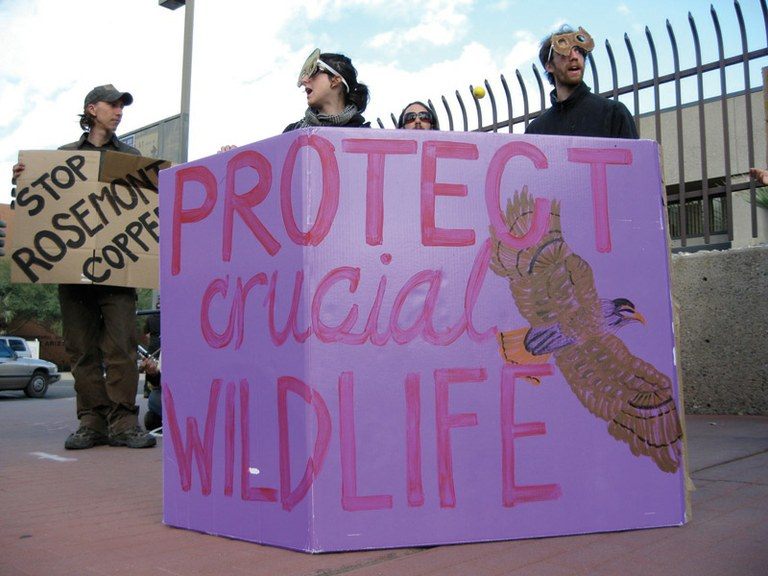 Protesters outside the U.S. Forest Service headquarters in Tucson last February.