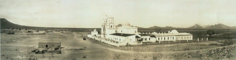 The San Xavier del Bac mission, circa 1913.