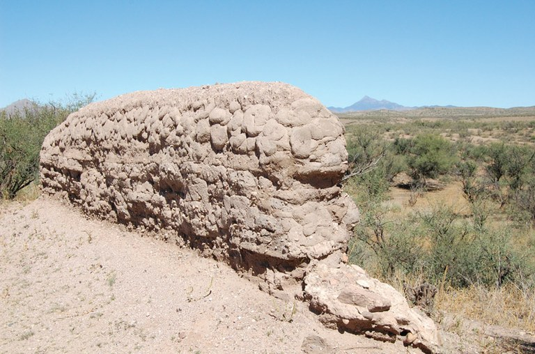 The unprotected adobe walls of the Guevavi