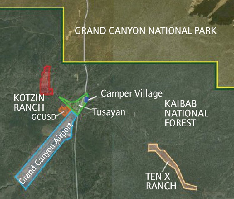 The map for the Gruppo Stilo proposal for Tusayan's expansion includes the Kotzin Ranch parcel, which was included in the boundaries of the newly incorporated town; the Ten X Ranch parcel, which is in the national forest outside town; and the Camper Village parcel where Elling Halvorson and Gruppo Stilo are partners.