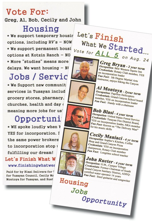 Campaign flier for the five candidates backed by the developers.