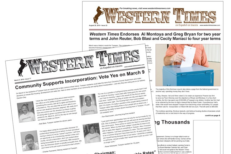 Western Times toes the company line with front-page editorials supporting Elling Halvorson's ambitions for Tusayan.