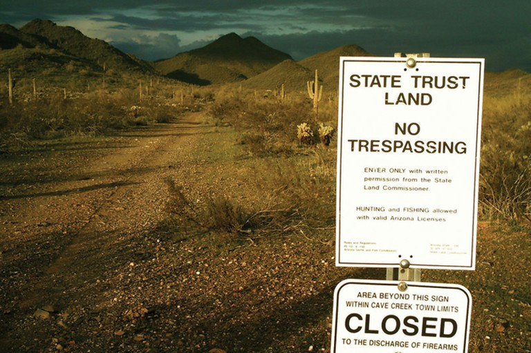 Restricted access to state trust lands in Arizona.