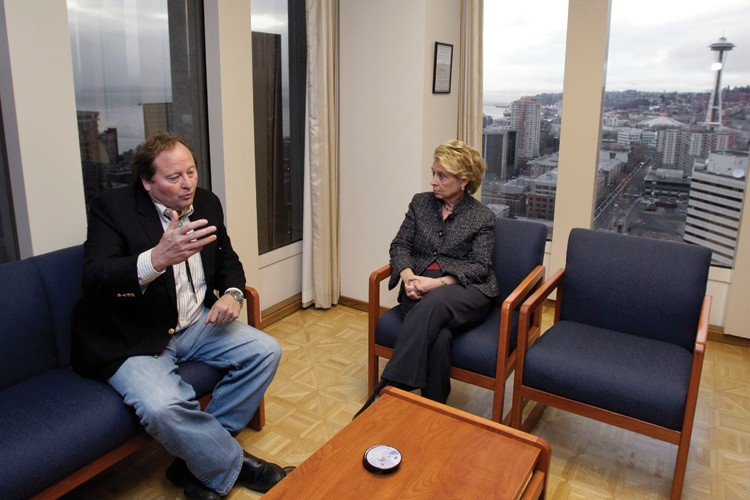 Governors Brian Schweitzer, D-Mont., and Christine Gregoire, D-Wash., meet to discuss the controversial proposal to build a coal-export terminal near Longview, Washington.