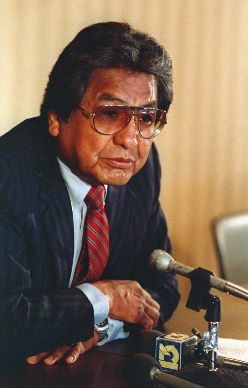Navajo Tribal Chairman Peter MacDonald in early 1989, just weeks before he was suspended in the face of federal and tribal charges for various offenses. He later served eight years in federal prison.