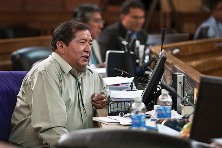 Council Delegate David Tom, shown here at the Navajo Tribal Council meeting in July. Tom has been charged with diverting nearly $280,000 of tribal funds to himself and his family.